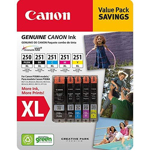 Canon PGI-250XL, CLI-251XL C/M/Y/K Ink Cartridges Value Pack (5 Cartridges)