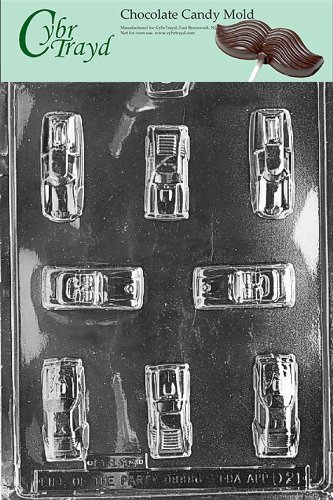 Cybrtrayd Life of the Party D021 Cars Chocolate Candy Mold in Sealed Protective Poly Bag Imprinted with Copyrighted Cybrtrayd Molding Instructions