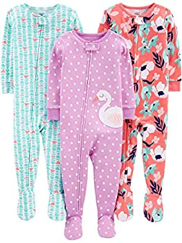 Simple Joys by Carter s Girls  3-Pack Snug Fit Footed Cotton Pajamas floral/turtle/swan 12 Months
