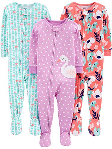 Simple Joys by Carter's Girls' 3-Pack Snug Fit Footed Cotton Pajamas, floral/turtle/swan, 6-9 Months