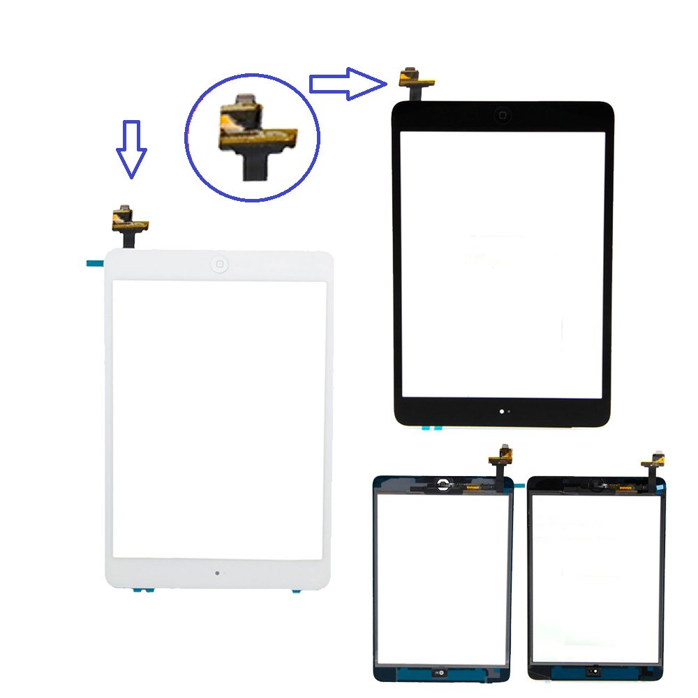Prokit For White iPad Mini Touch Screen Digitizer Complete Assembly with IC Chip /& Home Button replacement with SlyPry opening tool kit Ships from CA USA