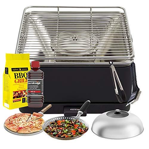 YesEatis by FEUERDESIGN - TEIDE Grill Antraciet - Kit met gel Accensie + Carbonella 3 kg + tang + pizzasteen + roestvrij stalen pan + groenten + reinigingsborstel