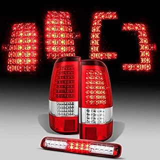 For [C-Shape Full LED] 1999-2002 Silverado | 1999-2003 GMC Sierra Taillights + Red 3rd Brake Light Pair