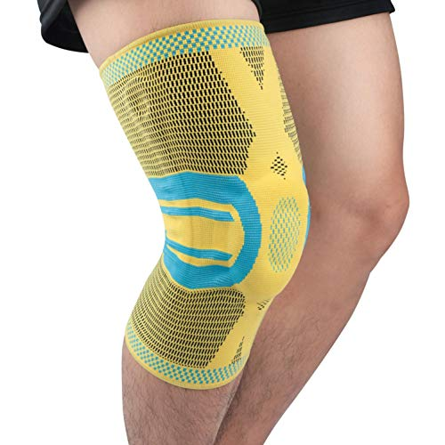 oxoxo Kniebandage mit ergonomischer Passform durch 3D-Stricktechnik - Schutz & Stabilität durch Silikon Pad und Stützfedern für Meniskus & Patella (S)