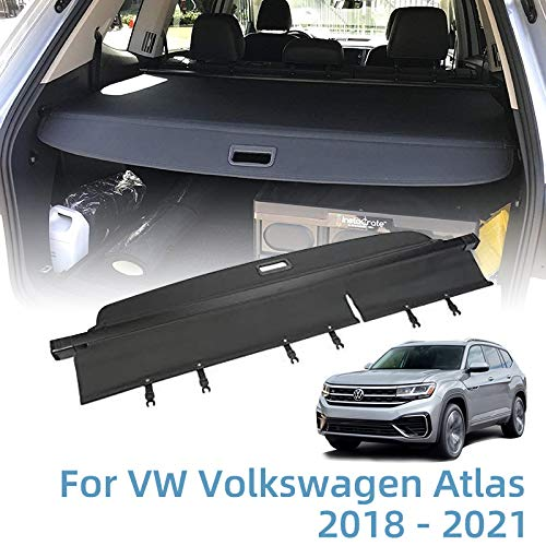 Vesul Retractable Rear Trunk Cargo Cover Fit for VW Volkswagen Atlas 2018 2019 2020 2021 Security Shade Shield Tonneau Cover Anti-Peeping Luggage Privacy Screen with Extra Canvas Cover