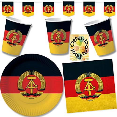 HHO Nostalgie Ostalgie DDR Party-Set 61tlg. für 20 Gäste : Becher Teller Servietten Wimpel