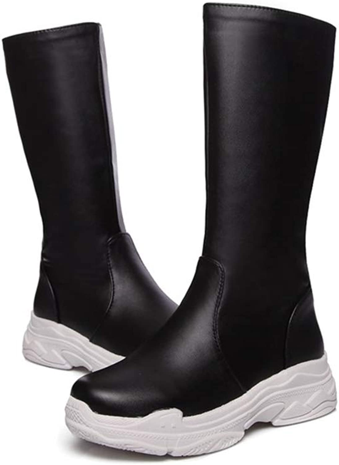 T-JULY New Leisure College Style Med Wedges Platform Slip-On White and Black Large Size Winter Mid Calf Boots