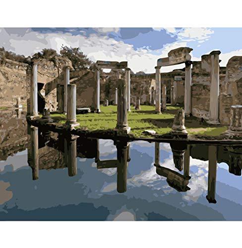 Malen Nach Zahlen Hadrians Villa Rom Landschaft Diy Öl Digitale Leinwand Malerei Wandbilder Für Wohnzimmer