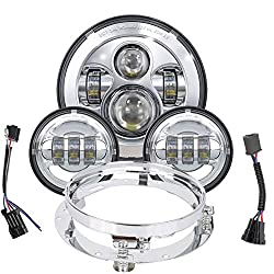top 10 harley headlights TRUCK MALL 7 LED headlights, 4.5″ fog lights, with mounting ring for Harley-Davidson …