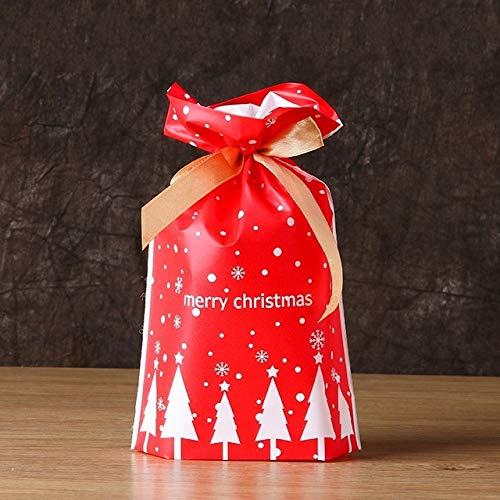50/100 stuks cadeauzakjes voor Kerstmis, Dot Heart Candy Christmas Plastic Drawstring Bag Cookie Snack Party verjaardag decoratie huwelijk geschenktasjes in panty's.