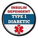 Type 1 Diabetic Insulin Dependent Medical Alert Sew-on Patch Embroidered with Black Rim 2.5 inch