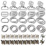 Anyasen Metallo Keychain Bulk 60 pezzi ganci a scatto girevoli Anello D Anello O Tri Glide Slide fibbie per borsa artigianale fai da te Fabbricazione borsa accessori hardware borsa