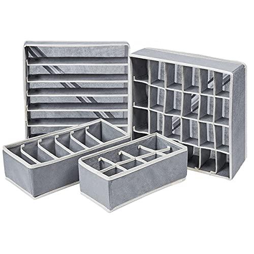 Cassetto Organizer Armadio per Biancheria Intima Armadio Divisori Pieghevole Storage Box , Reggiseni, Calze, Fazzoletti e Cravatte,Set di 4