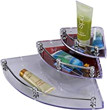 SSS Transparent Steel, Glass Wall Shelf Corner (5, 7 and 9-inch) - Set of 3 Pieces