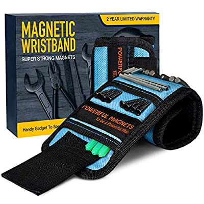 Gifts for Men, Magnetic Wristband,Unique Gift for Dad,Hasband,Him Tool Wrist Magnet, Gadgets for Men Upgrade Super Strong Magnets for Holding Screws, Tools, Nails, Drill Bits, Tool Belts by EastPin