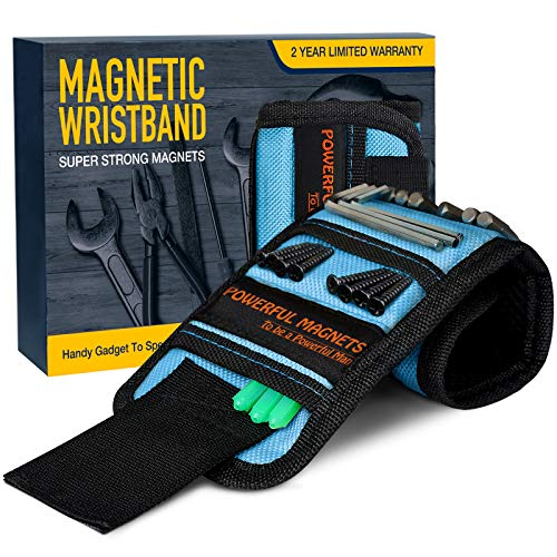 Fathers Day Gifts for Men, Magnetic Wristband Unique Gift for Dad,Husband,Him Tool Wrist Magnet, Gadgets for Men Upgrade Super Strong Magnets for Holding Screws, Tools, Nails, Drill Bits