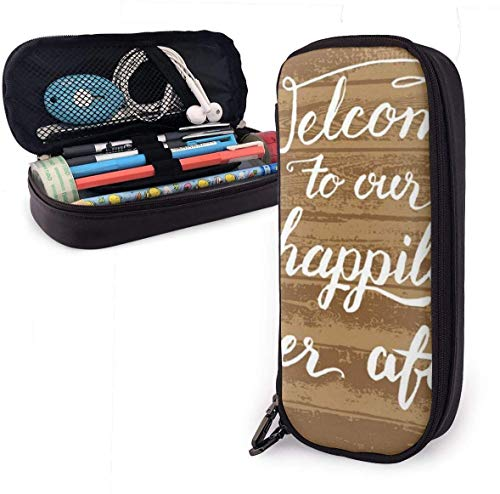 Yuanmeiju Welcome to Our Happily Ever After Leather Estuche with Zipper,8 X 3.5 X 1.5 Inch Pencil Holder Pen Case Pouch