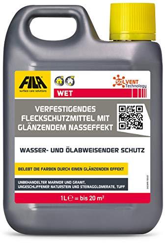 Fila FILAWET Protector efecto mojado para pavimentos de piedra natural, mármol, granito, piedras locales, travertino, de acabado rústico 1 litre
