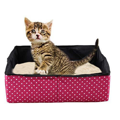 HEEPDD Katze Faltbare Katzenklo Faltbare wasserdichte Stoff Welle Punkt Druck Haustier Katzen streu Pan für Reisen Außen Camping Heimgebrauch 40 x 30 x 13 cm (rot)