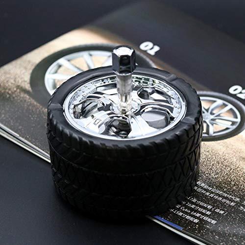 FORYOURS Auto Aschenbecher, Stylischer Windaschenbecher/Drehaschenbecher Aus Zinklegierung Und Kunststoff, In Form Eines LKW-Reifens
