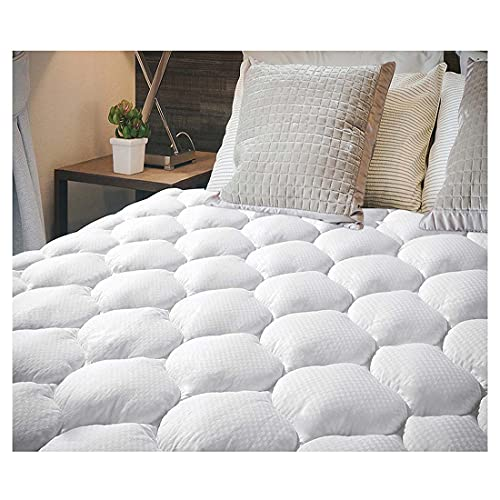 EcoMozz Full Mattress Pad Stretches up to 8-21Inch Smooth Elastic Pocket(Without Noise) Premium Snow Alternative Fiber Fill Protection Pad