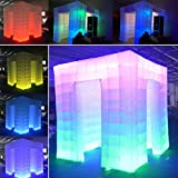 TUOKE Inflatable Photo Booth Inflatable Photo Booth Enclosure 8.2 x 8.2ft Portable Inflatable LED Photobooth with Inner Air Blower Great for Parties Weddings Anniversary Birthdays Parties (2 Door)