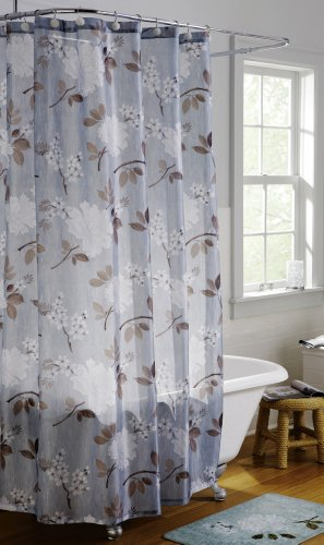 White floral shower curtain