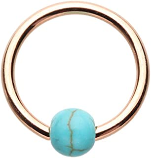 Captive Bead Ring Rose Gold Synthetic Turquoise