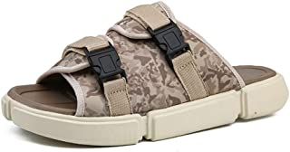 XueQing Pan Leisure Sandals for Men Open Toe Slippers with Camouflage Pattern Buckle Up Slides Breathable Beach Shoes Hook&Loop Strap Lightweight Adjustable Wear Resistant