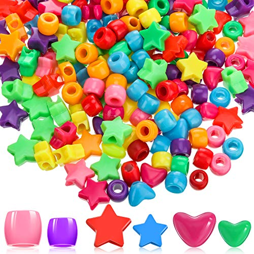 Hearts Pony Beads Star Beads Large Hole Beads Multi Color Acrylic Beads Bracelet Kawaii Rainbow Necklace for Christmas Valentine's Day Jewelry Making Craft Beads (600 Pieces)