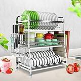 Dytxe-shelf Escurreplatos Metal Cromado Escurridor Platos 3 Niveles Secaplatos De Cocina Acero Inoxidable para La Cocina Acero Inoxidable Plateado