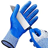 WINUSUAL Level 5 Cut Resistant Work Gloves,Food Grade Nitrile Coated, Power Grip For Dry or Wet Enviroments,Safety Kitchen Cut Gloves for Oyster Shucking,Mandolin Slicing, Meat Cutting (Large)
