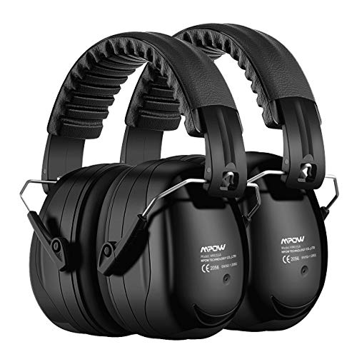 Mpow Ear Protection 2 Packs, NRR 28dB Professional Ear Defenders with a Carrying Bag, Foldable Noise Reduction Safety Ear Muffs for Hearing Protection, Shooting, Mowing, Construction, Woodworking