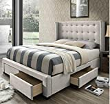 DG Casa Savoy Tufted Upholstered Wingback Panel Storage Bed Frame, King Size in Biege Fabric, Beige