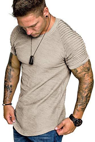 COOFANDY Mens Hipster Longline Tshirt Street Tee Fashion Shirt Khaki L