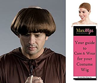 Monk Friar Tuck color BROWN - Enigma Wigs Spanish Religious Coth Bald Top Inquisition Bundle w/Cap MaxWigs Costume Wig Care Guide
