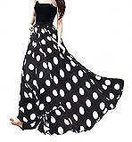 Afibi Women Chiffon Mopping Floor Length Big Hem Solid Beach High-Waist Maxi Skirt (Large, Black Dot)