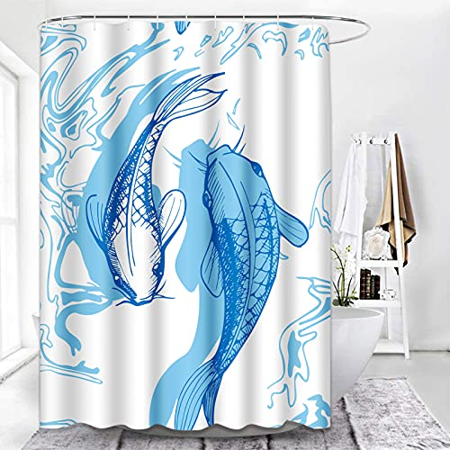 ArtSocket Shower Curtain Fish Japaneese Light Blue Chinese Goldfish Watercolor Waterproof Polyester Fabric Bathroom Decor Bath 72 x 72 Inches Set with Hooks