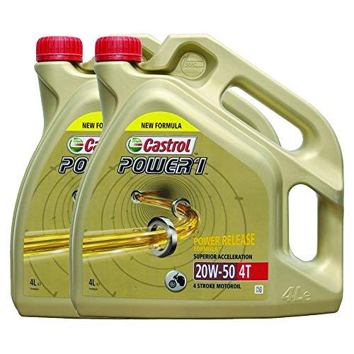LUBRIALPHA Olio Motore per Moto Castrol Power 1 4T 20W50 Confezione 2 boccie da 4 Litri