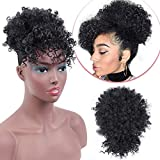 AISI QUEENS Afro High Puff with Bangs Synthetic Drawstring Ponytail Kinky Curly Bangs Short Afro Kinky Curly Pony Tail Clip in on Wrap Updo Hair Extensions for Women