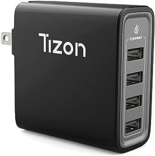 4-Port USB Fast Wall Charger (40Watt) w/I+Power High Speed chip& Foldable Travel Plug, Tizon Voyage for iPhone X, 8/8Plus, 7/7Plus, iPad Pro/Air 2, iPad Mini 3,Samsung S8/S7/Edge/Plus&More