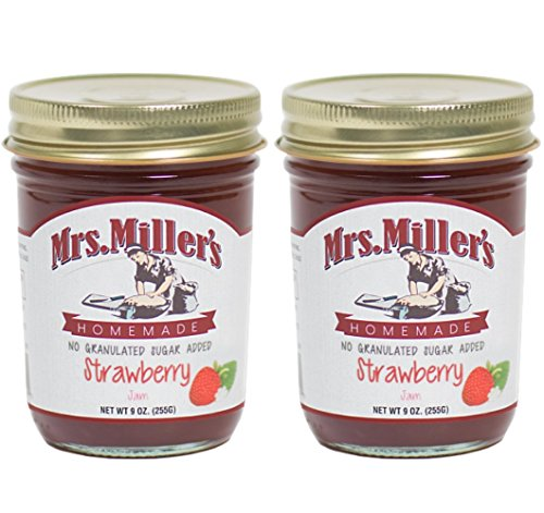 Mrs. Miller s Amish Homemade Strawberry No Granulated Sugar Added Jam 9 Ounces - Pack of 2 (No Corn Sugar)