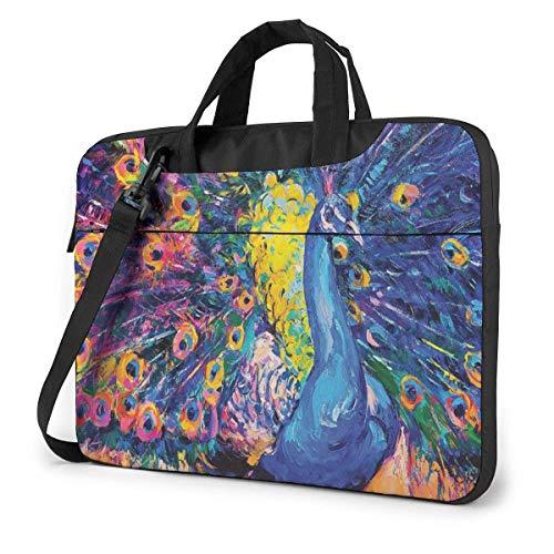 Laptoptas voor laptop, laptop, schoudertas, voor reizen, pauw, gekleurd, 15,6 inch
