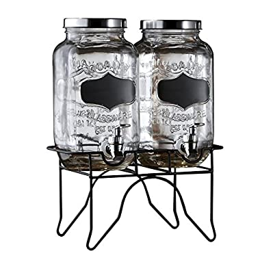 Style Setter 210838-RB Blackboard Glass Beverage Dispenser with Stand