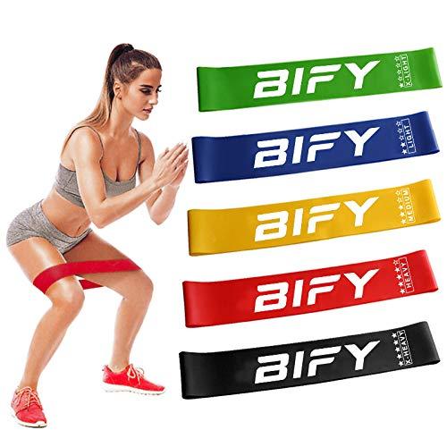 BIFY Fitnessbänder [5er Set] Widerstandsbänder Theraband,Loop-Bands,Resistance Bands, Gymnastikband aus Naturlatex für Muskelaufbau Pilates Yoga usw
