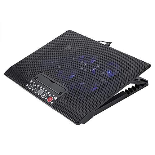 Base de la almohadilla de enfriamiento del enfriador de computadora portátil, soporte de montaje en ángulo ajustable de 6 ventiladores USB, fuerte y duradero, para computadora portátil de 17 'o menos