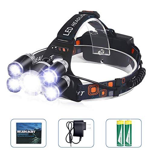 YOMYM Stirnlampe Led Wiederaufladbar, 1200mAh LED Stirnlampe Kopflampe mit Geste Sensor Funktion Wiederaufladbare Headlight für Outdoor Camping Laufen Angeln