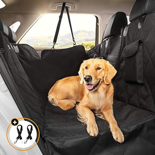 Looxmeer Funda Asiento Coche Perros, Cubierta Asiento Coche Mascota, Alfombra Asiento Coche Perro con Cinturón de Seguridad, Protector Maletero Coche Perros Impermeable, Negro