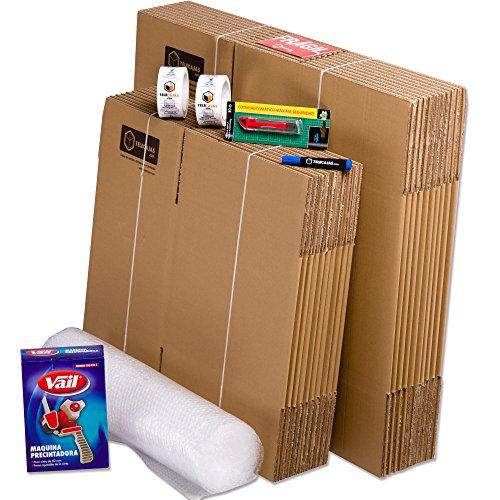 TeleCajas | Pack Mudanza (Cajas de cartón, plástico Burbujas, precinto, etc) con el Embalaje Necesario para una mudanza de casa (Pack MUDANZA Single)