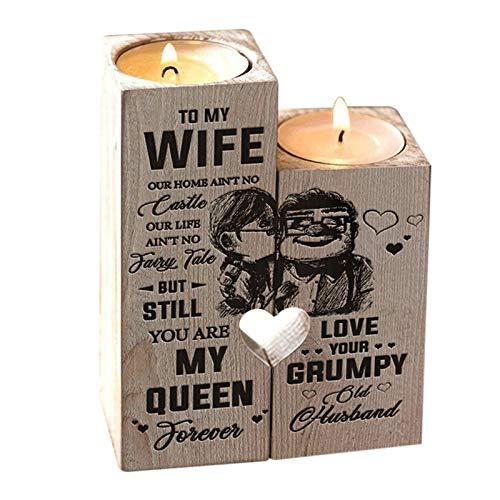 Floepx Candelabro de corazón con Vela, de Esposo a Esposa, Eres mi Reina para Siempre, Regalo para Aniversario de cumpleaños